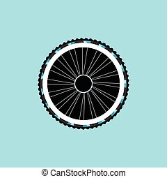 vector silhouette of a bicycle wheel with tyre and spokes