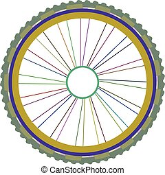 vector silhouette of a bicycle wheel with tyre and spokes isolated on white