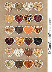 Vegetable Pulses - Dried vegetable pulses selection in heart...