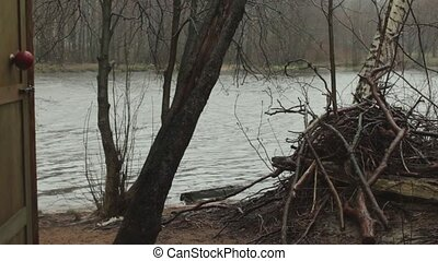 rainstorm on the river in the spring - Spring rainfall on...