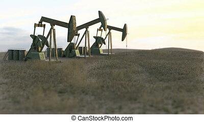 Oil wells seamless loop - oil pumps on meadow - 3D render