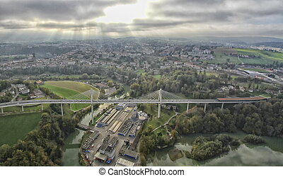 Poya and Zaehringen bridge, Fribourg and sky