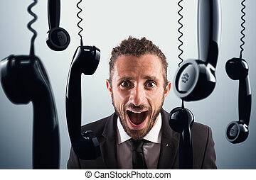 Stressful phone calls - Angry businessman screams between...