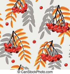 Seamless rowan berries and leaves - Rowan berries and leaves...