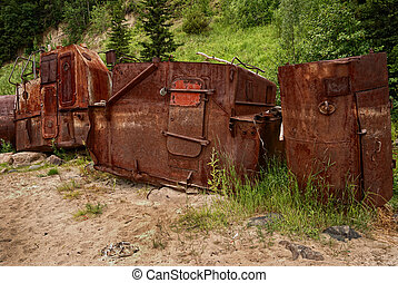 rusty wrecks, adapted for barn, with filter tonal contrast -...