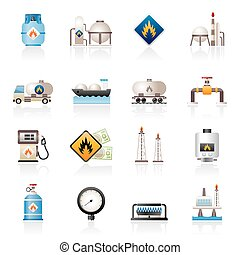 Natural gas icons - Natural gas fuel and energy industry...