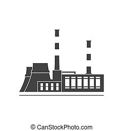 Thermal power station. Isolated on background. Vector...