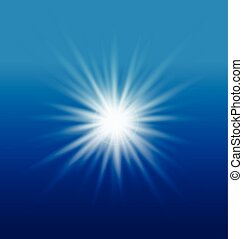 Sun light on blue sky vector element background template