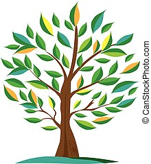 Green Olive tree vector. For labels