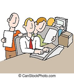 people in a crowded workplace - An image of a people in a...