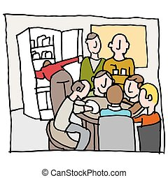 employees in a crowded break room - An image of a employees...