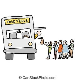 customers at a food truck - An image of a customers at a...
