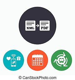 Export XML to PDF icon File document symbol Mobile payments,...