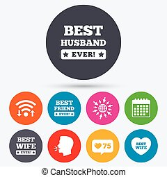 Best wife, husband and friend icons - Wifi, like counter and...