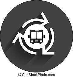 Bus shuttle icon Public transport stop symbol Circle flat...