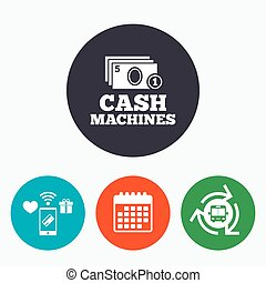 Cash and coin machines sign icon Paper money - Cash and coin...