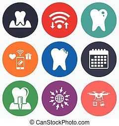Dental care icons Caries tooth and implant - Wifi, mobile...