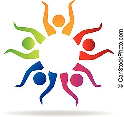 Teamwork hands up logo vector icon design