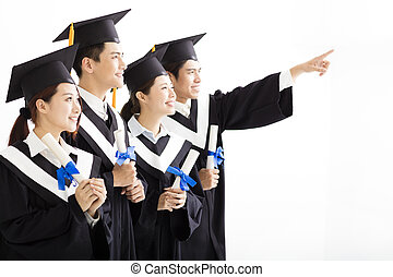 Group of graduation Looking and pointing to the Future