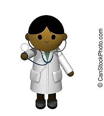 Asian Doctor - 3D illustration of an Asian Doctor holding a...