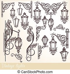 Collection or set of vintage hand drawn lights street lamps...