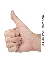 Male hand giving a thumbs up sign