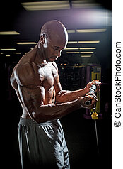 Wire Machine Weight Training - Body builder working out at...