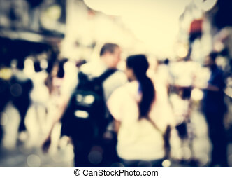 Blurred people walking on the street of phuket old town for...
