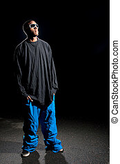 Guy Wearing Baggy Clothes - African American young man...