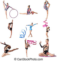 Photo collage. Artistic gymnast posing at camera, isolated...