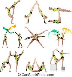 Beautiful acrobats in studio Set of many photos - Beautiful...