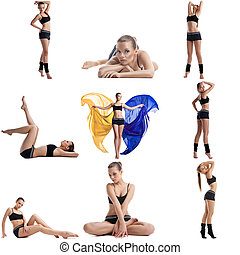 Cute fitness girl posing Collage of many photos - Cute...