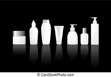 Blank bottles - Set of blank lotion, moisturiser and make up...