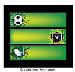 football and rugby sports banners - illustration of football...