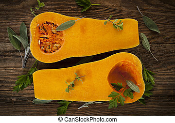 Butternut squash - Fresh butternut squash cut in half with...