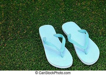 Thongs - A close up shot of thongs on artificial grass