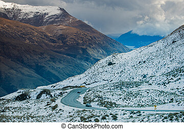beautiful scenic of queenstown mountain route south island...