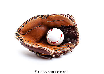 Leather Baseball or Softball Glove With Ball Isolated on...