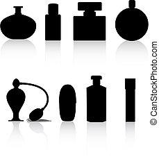 perfume bottles - perfume bottle black silhouette vector...