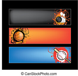 sports banner on black - illustration set of sports banners...