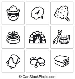 Vector Set of Bath and Sauna Accessories Icons. Bathhouse...
