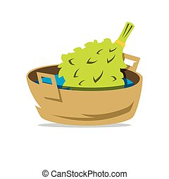 Oak Broom in the Basin for Russian bath Vector Cartoon...