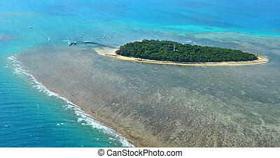 Aerial view of Green Island reef at the Great Barrier Reef Queensland Australia