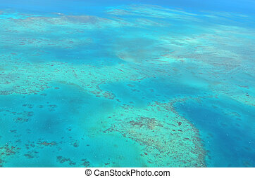 Aerial view of Oystaer coral reef at  the Great Barrier Reef Queensland Australia