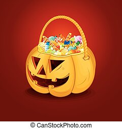 Halloween Pumpkin Bucket with Candy Vector - Halloween...
