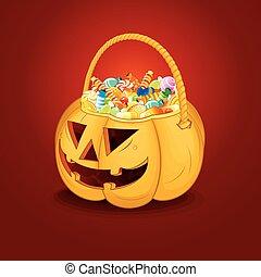 Halloween Pumpkin Bucket with Candy. Vector - Halloween...