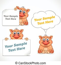 Funny Cartoon Piglet with Poster and Labels