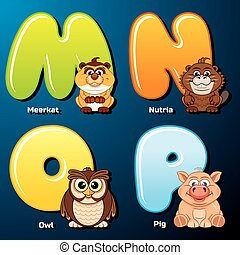 Cute Animals and Birds in Alphabetical Order - Zoo Alphabet....