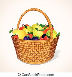 Organic Garden Fruits in Basket Vector - Orchand Harvest in...
