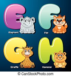 Cute Animals and Birds in Alphabetical Order - Zoo Alphabet...